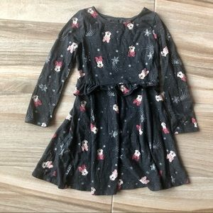 DISNEY Long Sleeve Dress with Mini Mouse and Snowflakes Size 5